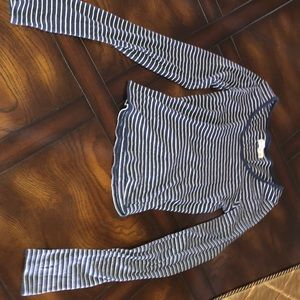 Cropped blue and white strip long sleeve shirt!